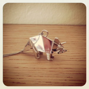 Triceratops - origami jewellery